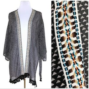 Boho Abstract Geometric Embroidered Swim Coverup